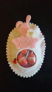 Uovo pasquale in feltro Coniglio bianco/rosa