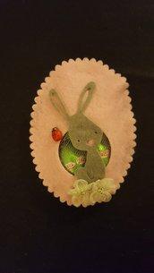 Uovo pasquale in feltro Coniglio rosa/grigio