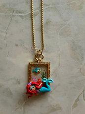 Collana con Ariel e Flounder su cammeo con resina fimo