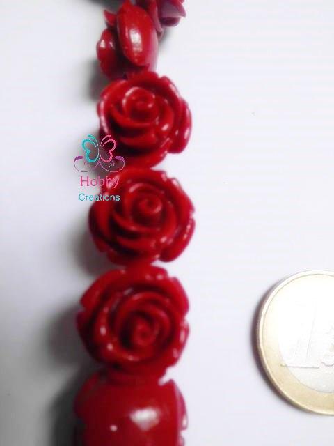 3 Perle distanziatore Rosso in fimo divisori spaziatori a forma di rosa laurea