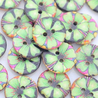 Lotto Stock 60 Bottoni a 2 Fori colorati Fiore Scrapbooking 1,4 x 1,5 mm