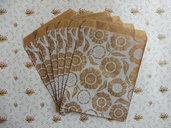Sacchetti di carta/paper bags 10 pezzi set in carta kraf con disegno fiori