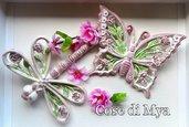 Coordinato Farfalla e Libellula in ceramica