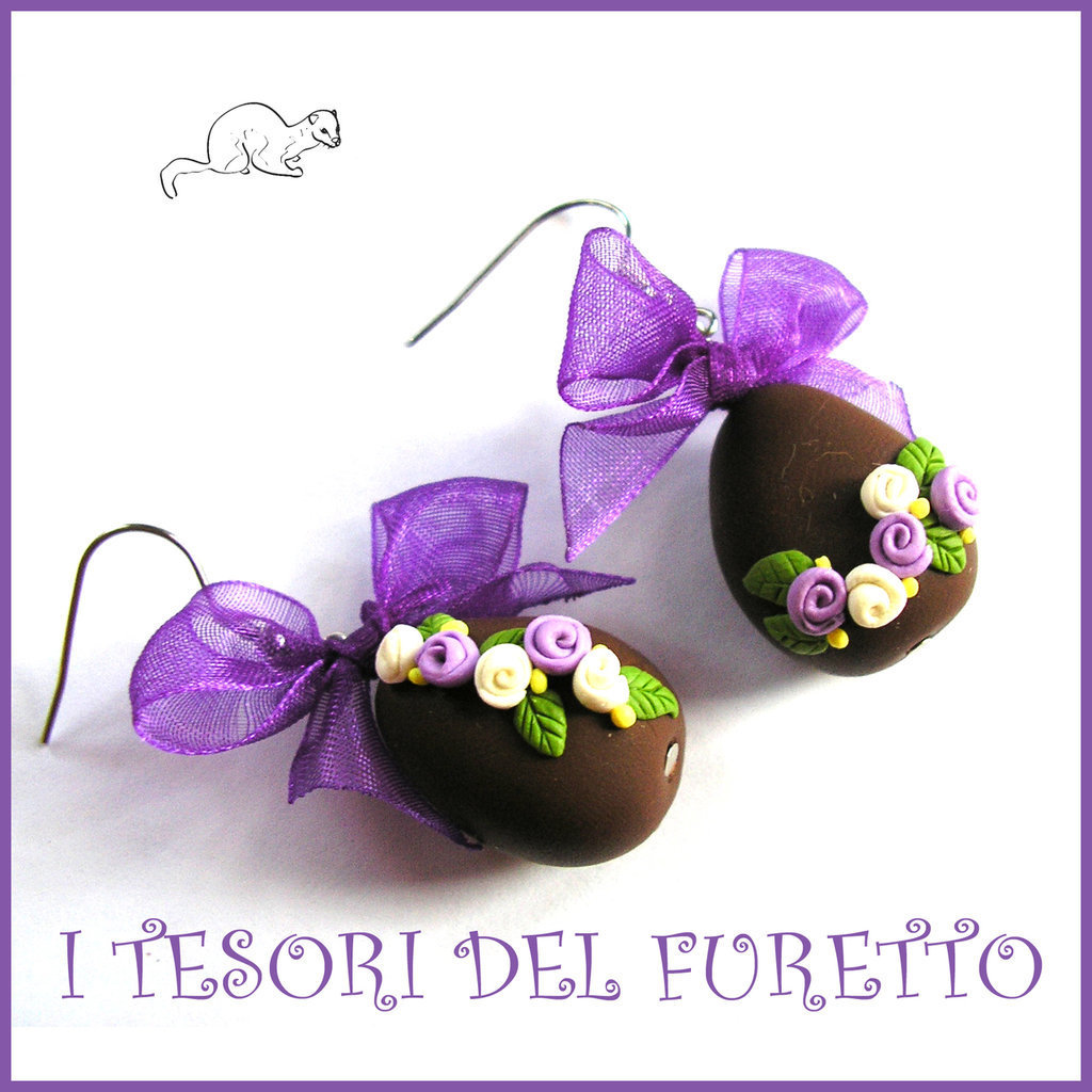 """Orecchini Pasqua """" Ovetti cioccolato lilla bianco """" uova sorpresa clip fimo kawaii idea regalo bambina donna ragazza"""