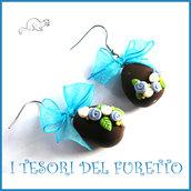"""Orecchini Pasqua """" Ovetti cioccolato azzurro bianco """" uova sorpresa clip fimo kawaii idea regalo bambina donna ragazza"""