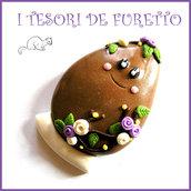 """Spilla Pasqua """" Uovo Pasqua cioccolato lilla """" personalizzabile con nome pecora fimo cernit kawaii bambina ragazza donna idea regalo p"""