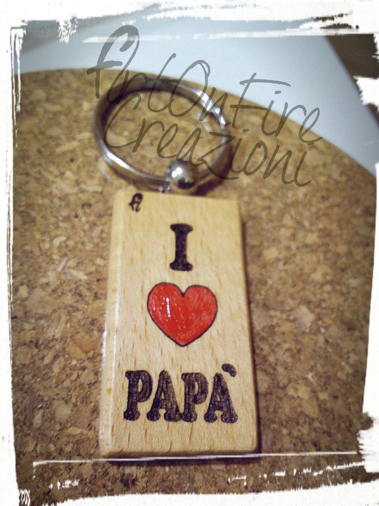 Portachiavi in legno inciso a fuoco per papà