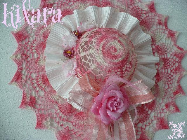 Cappello uncinetto rosa 2