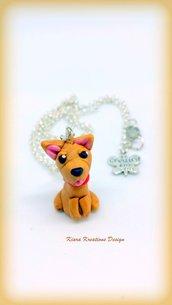 Collana in fimo cane pinscher, miniature, idee regalo compleanno, regalo cane, regalo per appassionati di cani, pinscher in fimo