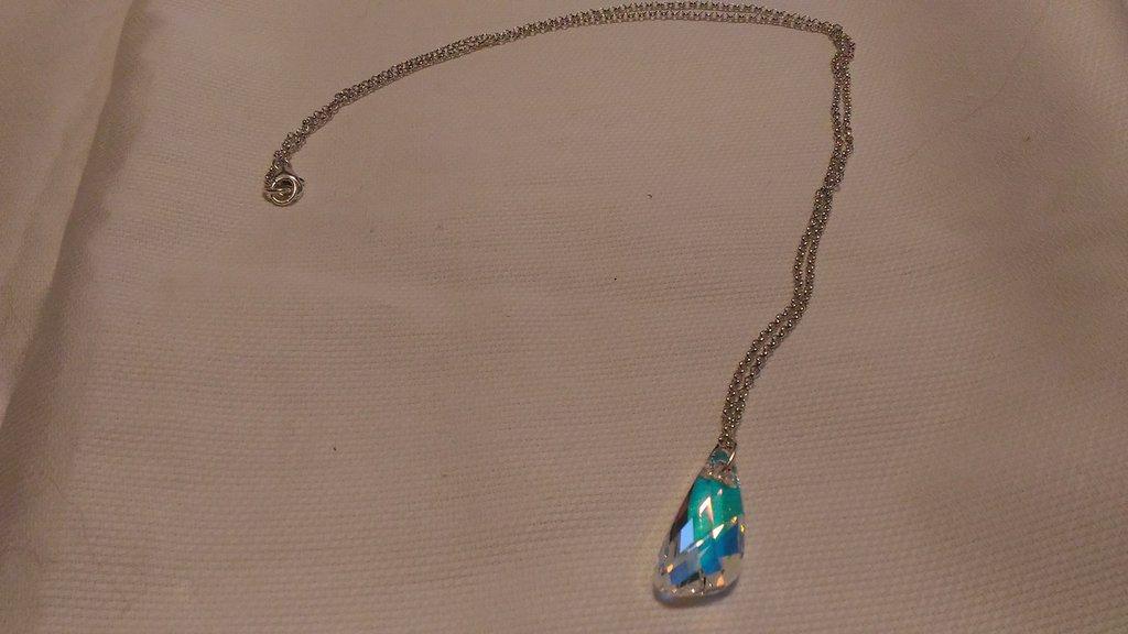 Catenina donna in argento 925 e swarovski crystal ab 20 mm