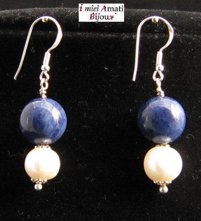 Orecchini arg. 925, lapislazzuli, perle coltivate