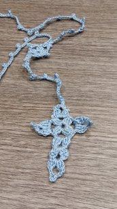 Bomboniera uncinetto rosario per battesimi comunioni e cresima