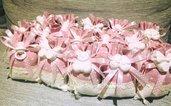 Sacchetti confetti celeste rosa CONFETTI E BIGLIETTINO Gessetto profumato Nascita Battesimo Shabbychic pois