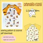 cartamodello tshirt bambino unisex con manica raglan tg 1 anno a 12 anni