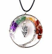 Collana con ciondolo albero della vita e gufo portafortuna vere pietre dure naturali chakra cristalloterapia