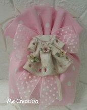 Sacchetto pois medio rosa c/vestitino