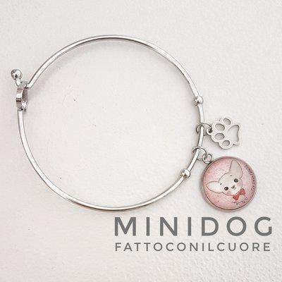 Bracciale rigido on acciaio  con ciondolo mini dog