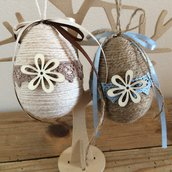 Set due ovetti, decorazioni shabby, ovetti in corda con decorazione in legno, addobbo albero di pasqua, decorazioni di pasqua