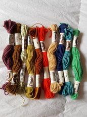 10 Matassine DMC cotone ritorto lanato da ricamo colori assortiti