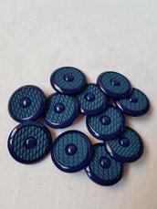Bottoni vintage blu di plastica con gambo 2,7 cm, 11 pezzi materiali