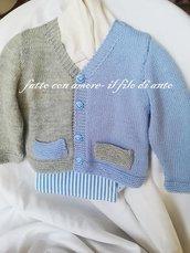 Maglia / giacchino / cardigan bambino / bambina in pura lana merinos 100%