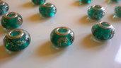 Charm in vetro verde/effetto sabbiolina dorata (20pz)