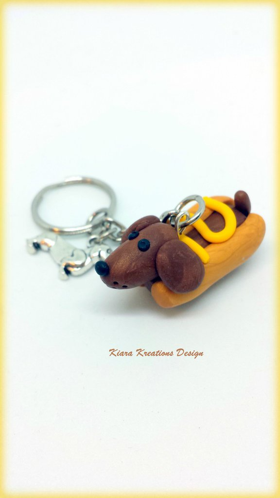 Portachiavi Cane Bassotto salsiccia, in fimo, miniature, idee regalo amica, cani salsiccia, per amanti degli animali, regalo personalizzato