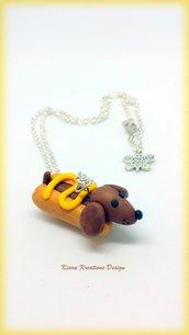 Collana Cane Bassotto salsiccia, in fimo, miniature, idee regalo amica, cani salsiccia, per amanti degli animali, regalo personalizzato