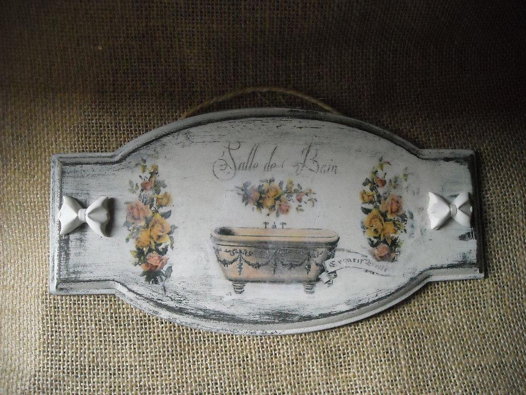 Targhette In Ceramica Per Porte.Targa Porta Bagno Retro Vintage Shabby Per La Casa E Per Te