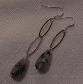 Orecchini Asimmetrici in Argento 925 e Quarzo Tormalinato (Qualità AAA+)