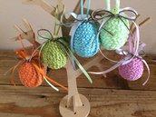 Set cinque ovetti, decorazioni pasqua, ovetti in cotone, addobbo albero di pasqua, decorazioni di pasqua