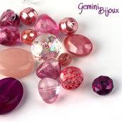 Lotto 50 grammi perle acrilico mix di forme, rosa-viola