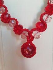 Collana rosso amore+ orecchini fiore in regalo