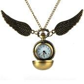 Collana orologio boccino d'oro harry potter quidditch hogwarts magia grifondoro