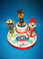 decorazione torta in pasta di zucchero Marshall,Rocky,Chase,Zuma,Skye,Rubble,Everest del cartone Paw patrol ( 1 personaggio)