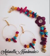 Parure multicolor bracciale e orecchini