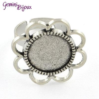 Base anello vintage fiore argentato tondo, per cabochon 14 mm.