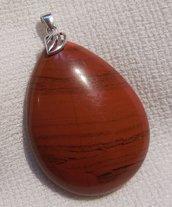 Grande Ciondolo in Diaspro Rosso e Argento 925