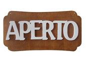 """Cartello scritta Targa """"double face"""" APERTO - CHIUSO in legno 37 x 19 cm"""