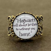 Anello harry potter cabochon vetro hogwarts scuola magia hp