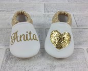 Scarpine ecopelle Cuore Oro Glitter personalizzate con nome - Bimba 3/6 mesi