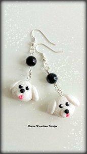 Orecchini in fimo barboncino, orecchini cane bolognese, miniature, idee regalo compleanno, regalo amanti cani, regalo cane, gioielli cani