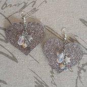 Orecchini cuori color argento e stelline