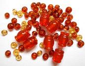 Mix 65 perle vetro arancio e giallo