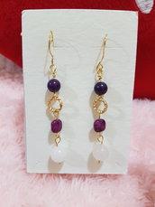 orecchini pendenti viola