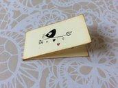 Bigliettini matrimonio bomboniera rettangolari con uccellino e scritta - avorio