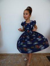 Abito elegante per bambini in fiori blu, vestito con set, abito vestito a maniche corte è
