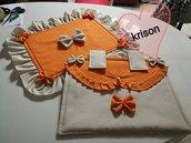 Set copri forno copri fuochi stile shabby fatto a mano arancione e lino.