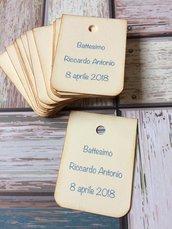 Bigliettini battesimo bimbo bomboniera tag rettangolari nome e data angoli arrotondati