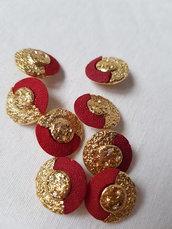 Bottoni gioiello vintage rosso oro e strass di metallo con gambo,10 pezzi 2 cm,materiali